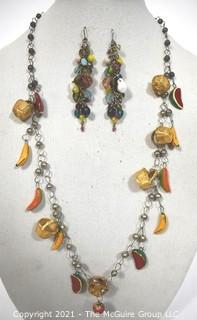 Hand Made Mexican Watermelon Basket Charm Necklace & Cluster Bead Dangle Earrings with Wire Hook.