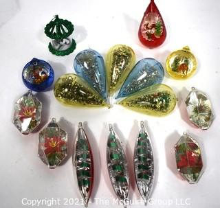 Collection of Jewel Brite Diorama Lantern Lucite Christmas Ornaments & One Twinkler Heat Spinner Ornament
