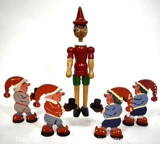 Four (4) Vintage Painted German Gnome Candle Holders & Articulated Wooden Pinocchio Toy Made by Tonna Giocattoli, Italy.