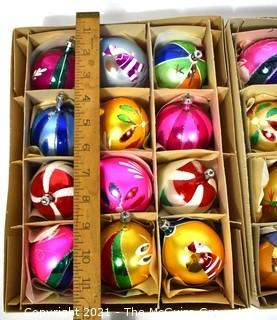 Two (2) Boxes of Vintage Hand Blown & Painted Glass Ornaments Made in Poland.