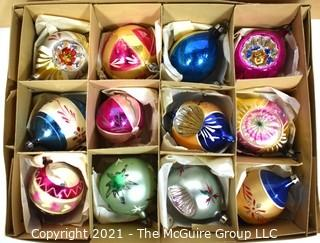 Three (3) Boxes of Vintage Hand Painted Poland Glass Ornaments with Indents.