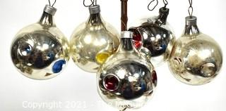 Set of Five (5) Silver with Bright Painted Dimples Christmas Ornaments in Box