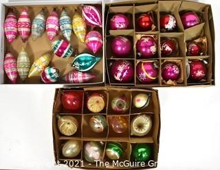 Three (3) Boxes of Vintage Hand Painted Poland Glass Ornaments..