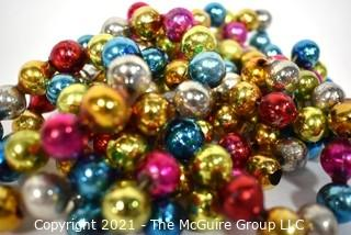 Three (3) Vintage Strands of Rainbow Bright Multi Color Mercury Glass Bead Christmas Garlands