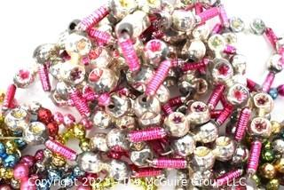 Three (3) Vintage Strands of Bright Multi Color Mercury Glass Bead Christmas Garlands Some with Indents.