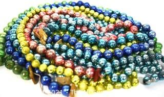 Five (5) Vintage Strands of Bright Mercury Glass Beads Christmas Garlands