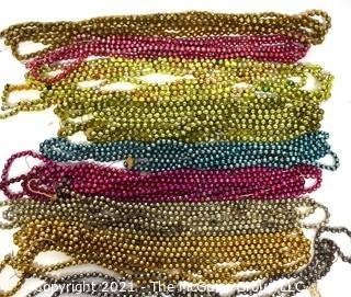 Nine (9) Vintage Strands of Bright Mercury Glass Bead Christmas Garlands.