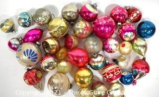 Collection of Vintage Hand Painted Glass Ornaments Various Sizes