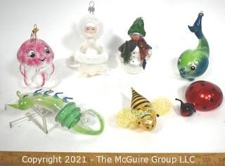 Collection of Seven (7) Free Blown Glass Christmas Tree Ornaments Including Ocotopus, Angel, Snowman, Whale, Sea Creature, Bumble Bee & Lady Bug.