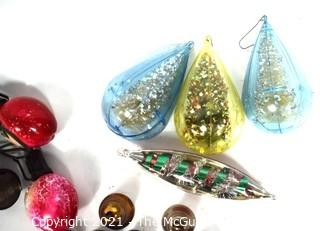 Mixed Group of Vintage Christmas Ornaments.  Includes Bells, Glass Christmas Tree Lights, Jewel Brite Diorama and Small Glass Ball Ornaments.