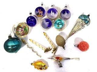 Group of Vintage Christmas Ornaments and Light Bulbs.
