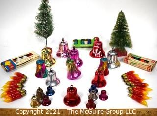 Group of Vintage Christmas Ornaments.  Includes, Bells, Glass Christmas Tree Light Bulbs, and Bottle Brush Trees.