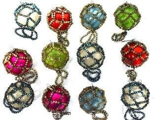 Twelve (12) Vintage Bead Netted Glass Ball Ornaments in Original Box.