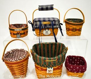 Collection of (6) Longaberger Baskets with Fabric Liners.