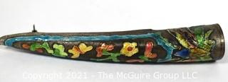 """Antique Chinese Enamel Cloisonne Painted Finger Guard Mounted as Brooch.  3 1/2"""" long."""