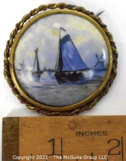 Vintage Delft Blue Porcelain Sailboat Painted Brooch with Brass Surround.