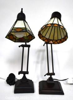 Pair of Reproduction Stained Glass Shade Table or Desk Lamps.