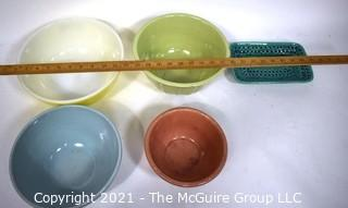 Vintage Group of Pottery Mixing Bowls and Tray in Bright Colors.