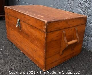 """Vintage Hand Made Shipwrights Pine Chest. Measures 32"""" x 19"""" x 16"""""""