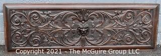 "Antique Victorian Lion Carved Dark Wood Panel.  Measures 61"" x 20""."