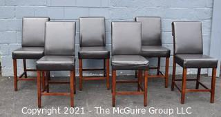 Set of Six (6) Contemporary High Dining Chairs. Some nicks to upholstery.