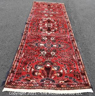 """Hand Woven Persian Wool Runner Rug with Botanical Design on Red Ground. Measures 42"""" x 125"""""""