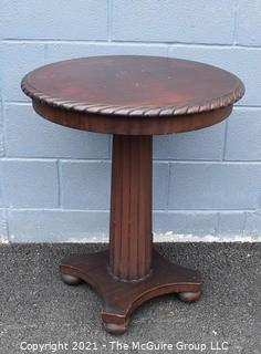 """Vintage Round Pedestal Table with Spiral Carved Edge. Measures 24"""" D x 29"""" T."""