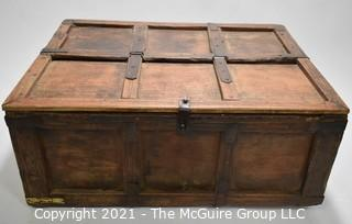 """Antique Primitive Hand Crafted Wooden Box or Chest with Iron Brackets and Hasp Closure with Panel Decoration. Measures 8"""" x 14"""" x 19""""."""