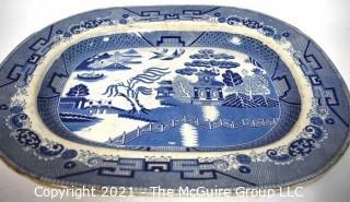 "English 19th Century Sampson Bridgwood & Son Blue Willow Ironstone Porcelain Platter.  Measrues 20"" x 16""."