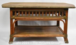 "Vintage Mid Century Rattan Coffee Table.  Measures 36"" x 20"" x 18""."