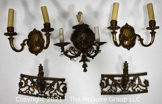 Vintage Cast Iron Electric Wall Sconces and Decorative Trim.