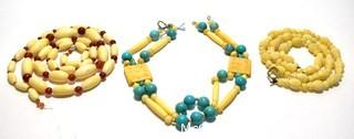 Three (3) Strands of Carved Bone and & Turquoise Beads.