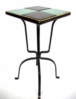 """Vintage Wrought Iron Table with Turquoise and Black Tile Insert. Measures 17"""" tall and and 9"""" square."""