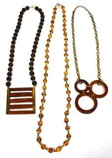 Three (3) Retro Boho Necklaces, Two Made of Wood.