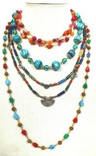 Four (4) Mixed Bead Necklaces.  One is missing clasp.