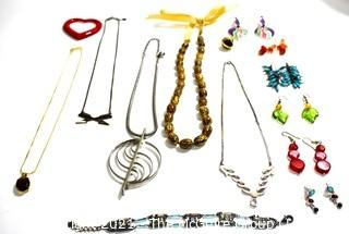 Mixed Group of Costume Jewelry Including Necklaces, Bracelet and Pierced Earrings.