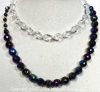 Two Vintage Iridescence Crystal Bead Necklaces.
