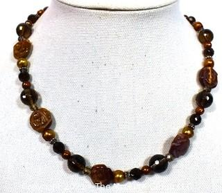 """Mixed Semi Precious Carved Stone with Crystal Accent Beaded Necklace.  Measures 19"""" long."""