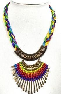 "Artisan Made Hammered Brass Fringe on Multi Color Cords Necklace. Measures 21"" long."