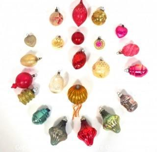 Collection of Vintage Glass Christmas Ornaments with Indents.