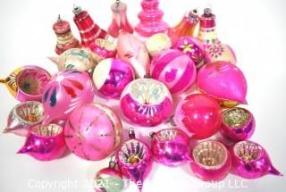Group of Vintage Hand Painted Pink and Mercury Glass Christmas Ornaments Hand Painted Some with Indents.