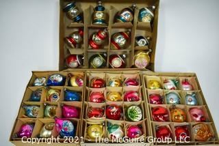 Four (4) Boxes of Vintage Hand Painted Mercury Glass Christmas Ornaments with Indents.