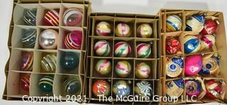 Three (3) Boxes of Vintage Hand Painted Mercury Glass Christmas Ornaments with Indents.