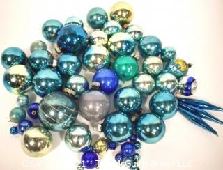 Group of Vintage Hand Painted Blue Mercury Glass Christmas Ornaments.