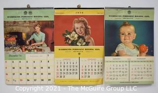 Three (3) Vintage Pin Up 1950 & 1951's Advertising Wall Calendars for Washington Permanent Building Association