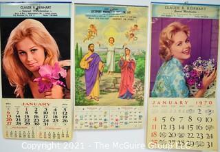 Three (3) Vintage Pin Up 1970, 1974, 1977 Advertising Wall Calendars