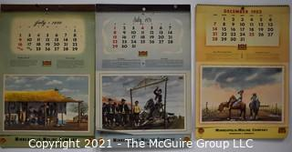 Three (3) Complete Spiral Bound Sets Of 12 Calendar Pages Produced for the Minneapolis-Moline Power Implement Company Featuring Artwork Of Argentine Artist F Molina Campos for