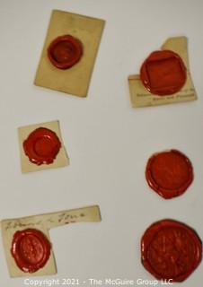 Vintage Collection of Six Victorian Red Wax Signet Seals.