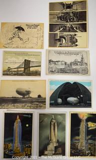 Collection of Vintage Postards Including Goodyear Blimp, Brooklyn Bridge and New York City.