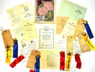 Grouping of Vintage 1930's Programs and Prize Ribbons from Community Flower Shows.